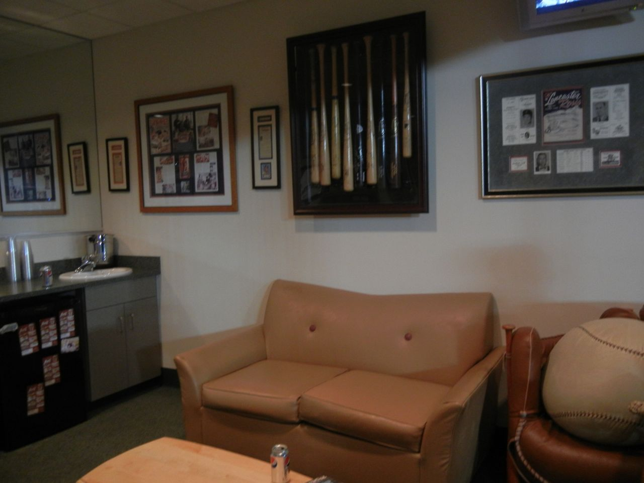 The Bats Added To Baseball Theme Of Room And If You Notice Chair Next Leather Sofa Its A Ball Glove